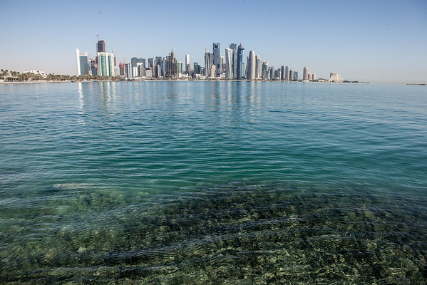Doha skyline Qatar sea