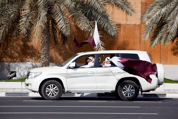 Qatar National Day Qatar flag on cars