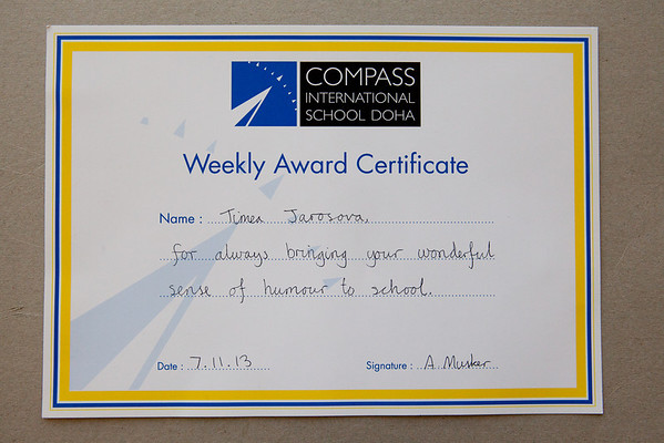 Compass International Weekly Award Certificate