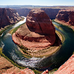 The Horseshoe Bend near Page, Arizona. This photo was taken after 4 pm - no good! I recommend you arrive between noon and 2 pm to avoid the flare.
