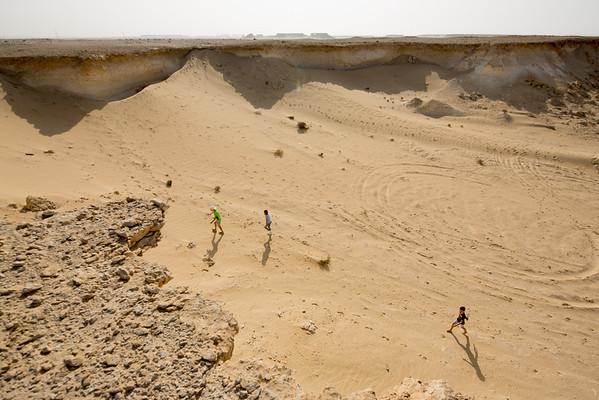 děti poušť skály Katar